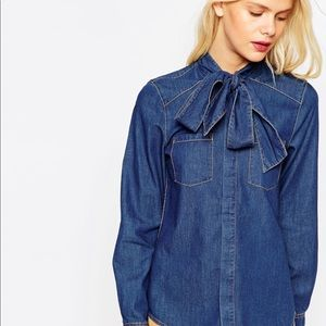Zara Denim Long Sleeve Blouse with Neck Bow